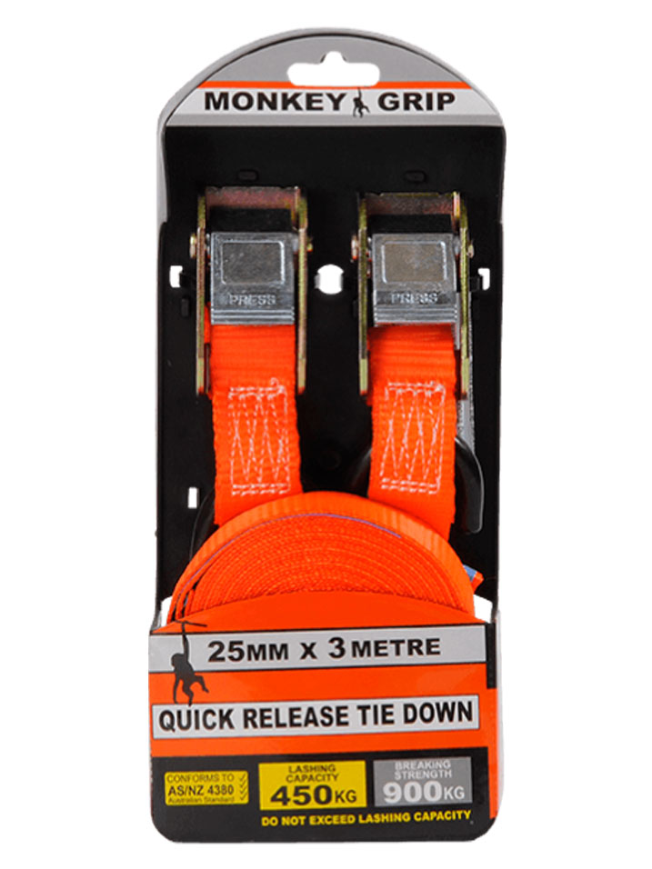 Quick Release Tie Down 25mm X 3m Monkey Grip